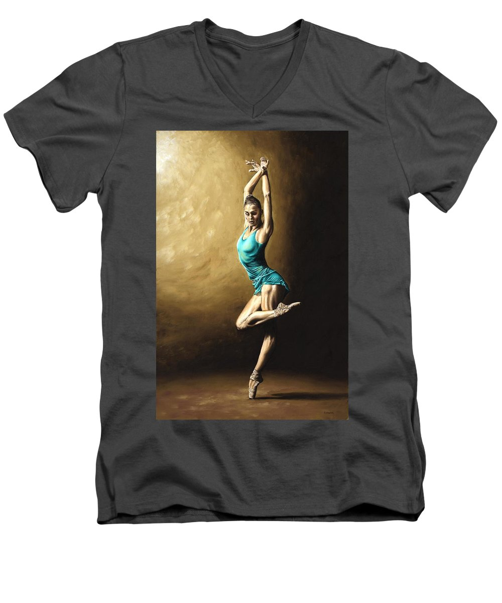 Dance Men's V-Neck T-Shirt featuring the painting Ardent Dancer by Richard Young