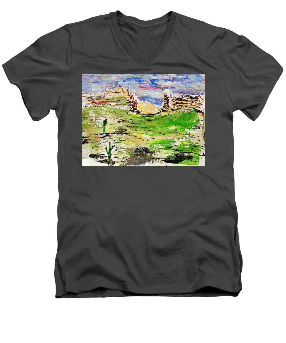 Cactus Men's V-Neck T-Shirt featuring the painting Arizona Skies by J R Seymour