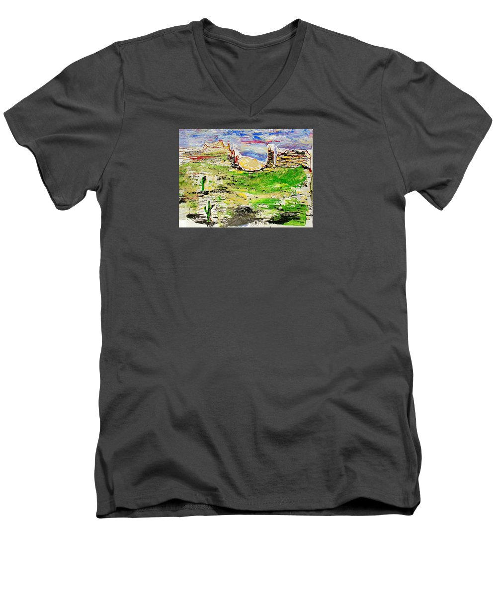 Impressionist Painting Men's V-Neck T-Shirt featuring the painting Arizona Skies by J R Seymour