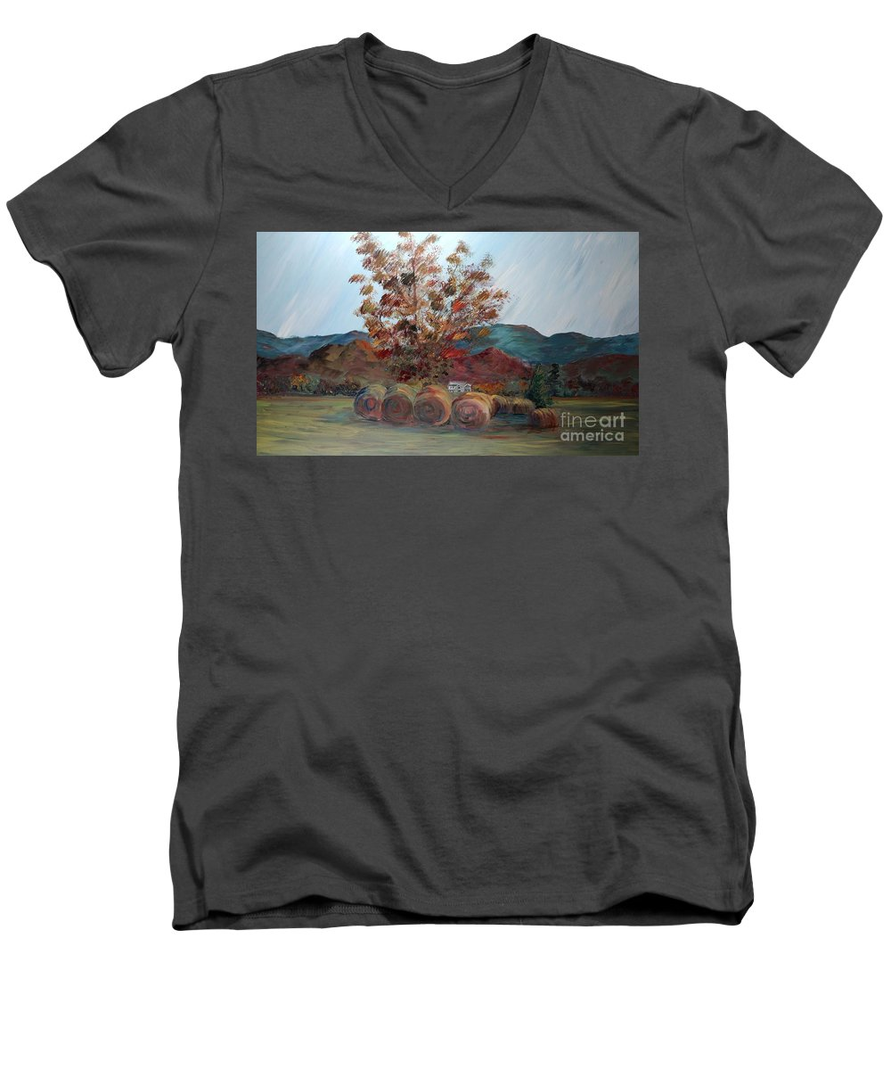 Autumn Men's V-Neck T-Shirt featuring the painting Arkansas Autumn by Nadine Rippelmeyer