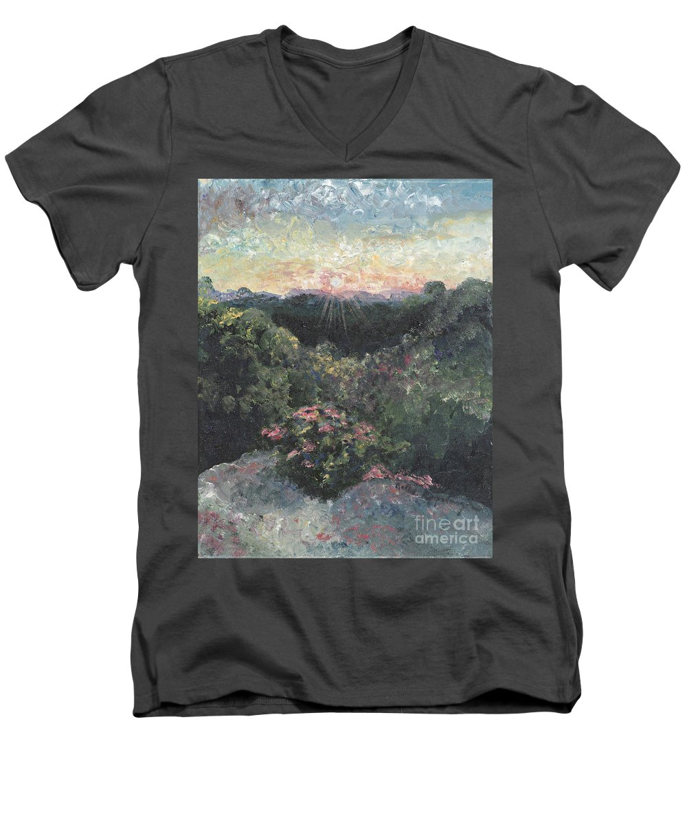 Landscape Men's V-Neck T-Shirt featuring the painting Arkansas Mountain Sunset by Nadine Rippelmeyer