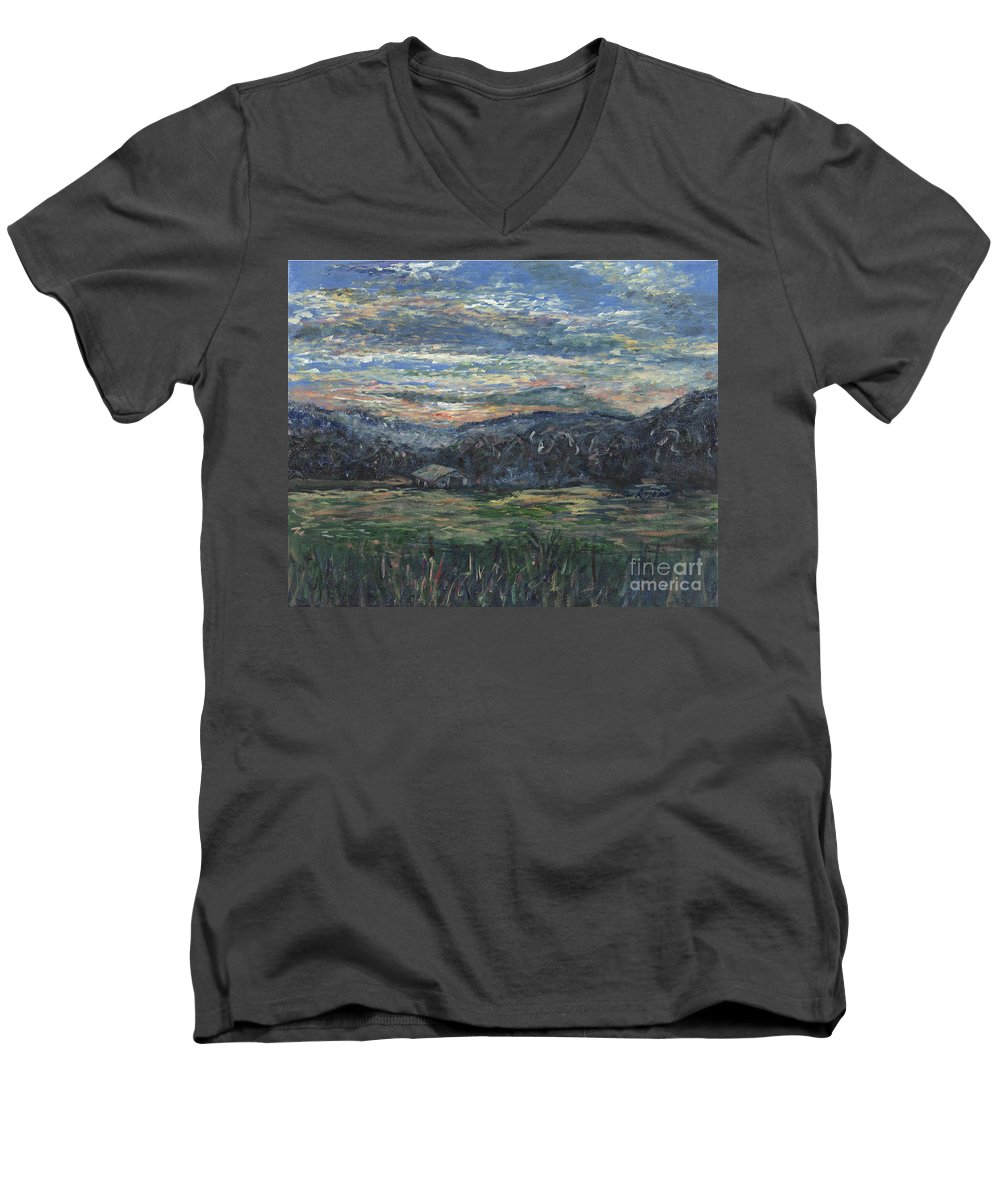 Impressionism Men's V-Neck T-Shirt featuring the painting Arkansas Sunrise by Nadine Rippelmeyer
