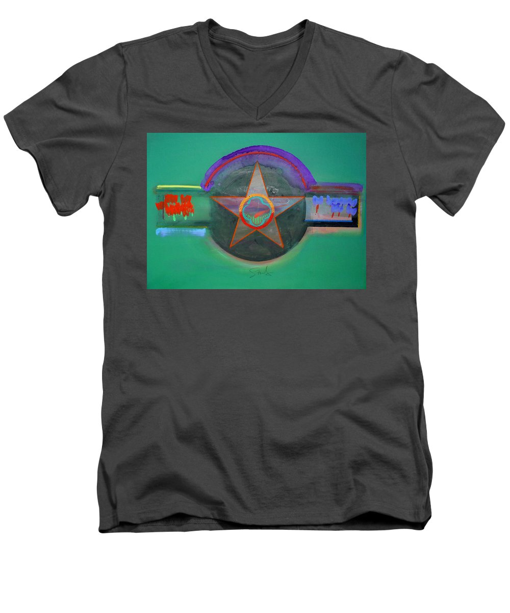 Star Men's V-Neck T-Shirt featuring the painting Arlington Green by Charles Stuart
