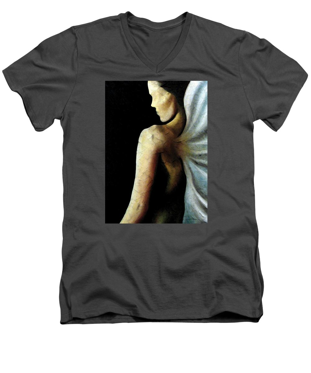 Angel Men's V-Neck T-Shirt featuring the painting Armaita Angel Of Truth Wisdom And Goodness by Elizabeth Lisy Figueroa