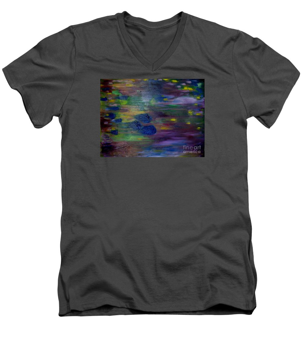 Abstract Men's V-Neck T-Shirt featuring the painting Around The Worlds by Laurie Morgan
