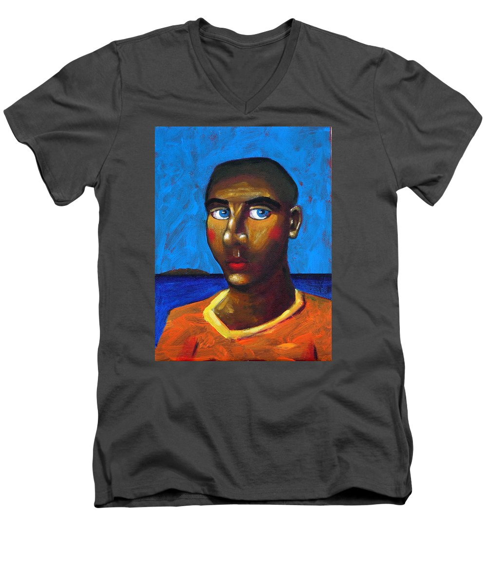 Arsonist Men's V-Neck T-Shirt featuring the painting Arsonist by Dimitris Milionis