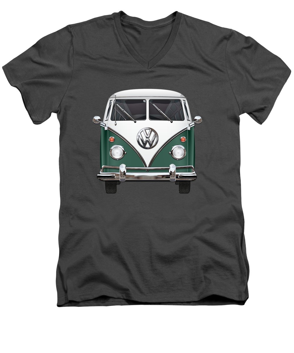 'volkswagen Type 2' Collection By Serge Averbukh Men's V-Neck T-Shirt featuring the photograph Volkswagen Type 2 - Green And White Volkswagen T 1 Samba Bus Over Red Canvas by Serge Averbukh