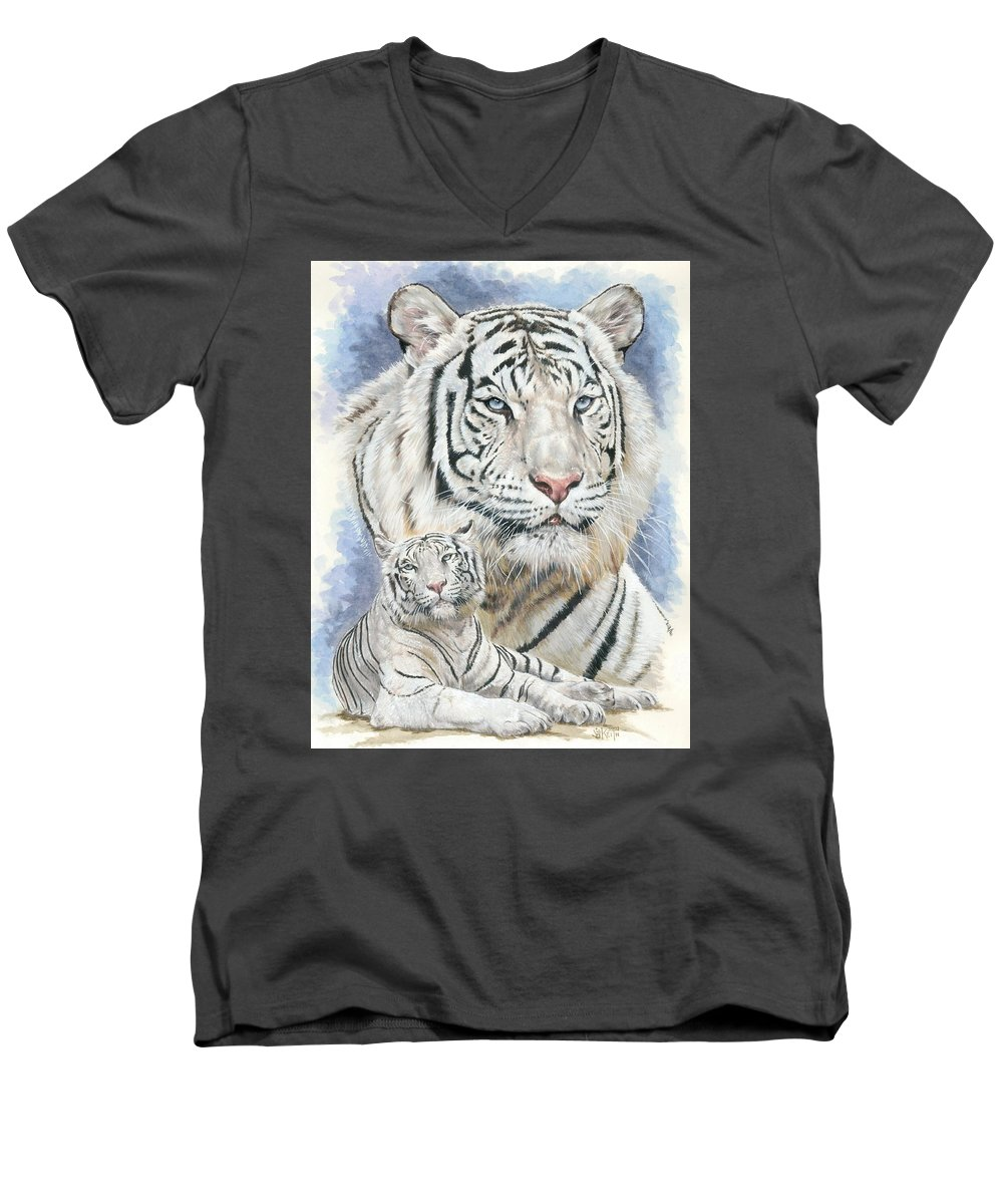 Big Cat Men's V-Neck T-Shirt featuring the mixed media Dignity by Barbara Keith
