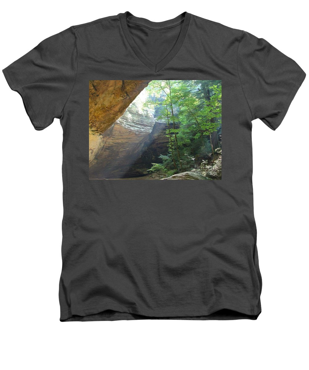 Photograph Men's V-Neck T-Shirt featuring the photograph Ash Cave by Mindy Newman