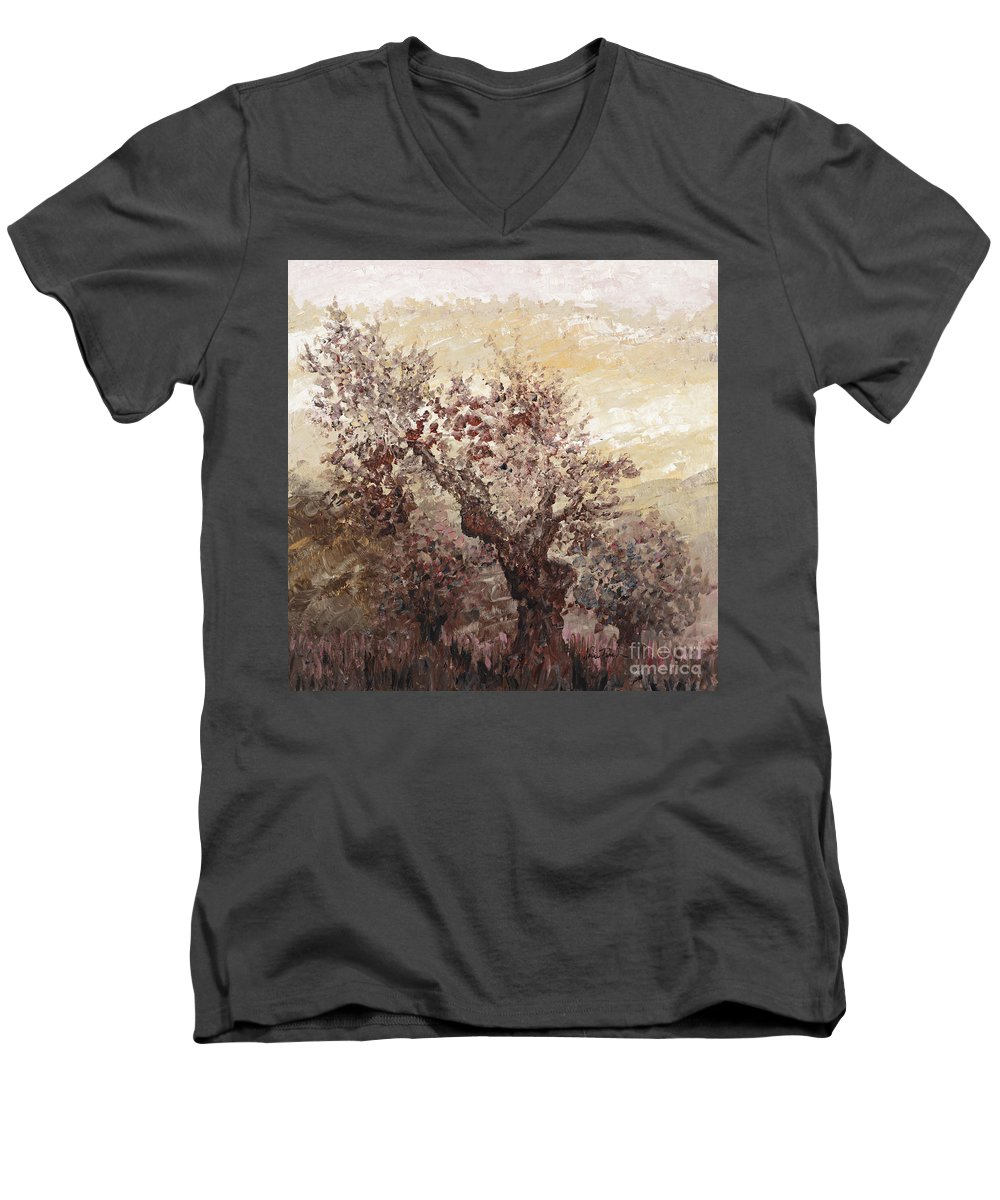 Landscape Men's V-Neck T-Shirt featuring the painting Asian Mist by Nadine Rippelmeyer