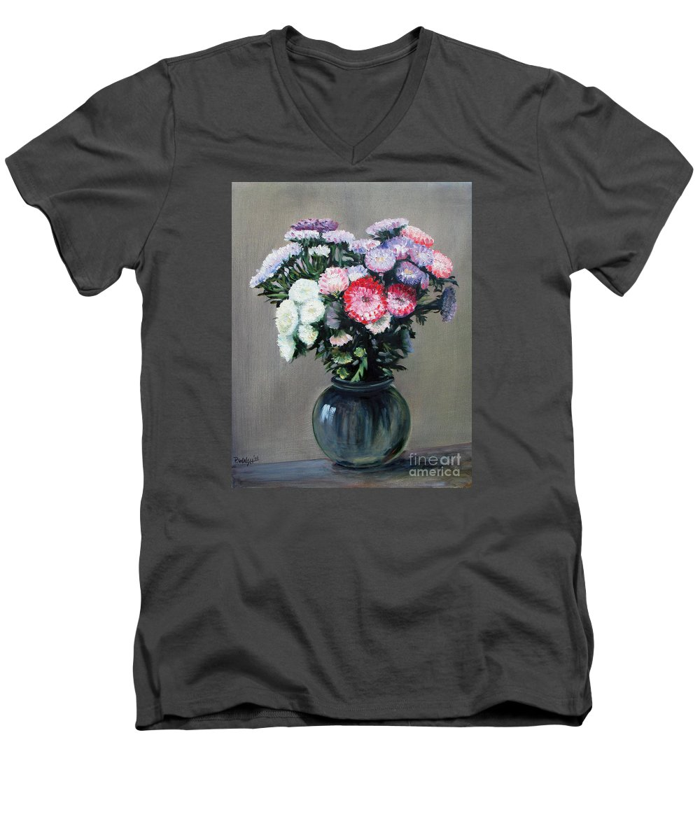 Flowers Men's V-Neck T-Shirt featuring the painting Asters by Paul Walsh