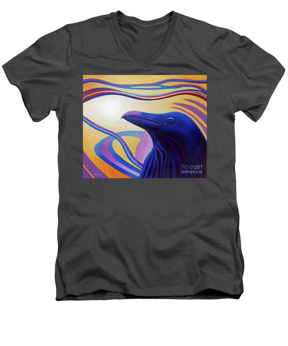 Raven Men's V-Neck T-Shirt featuring the painting Astral Raven by Brian Commerford