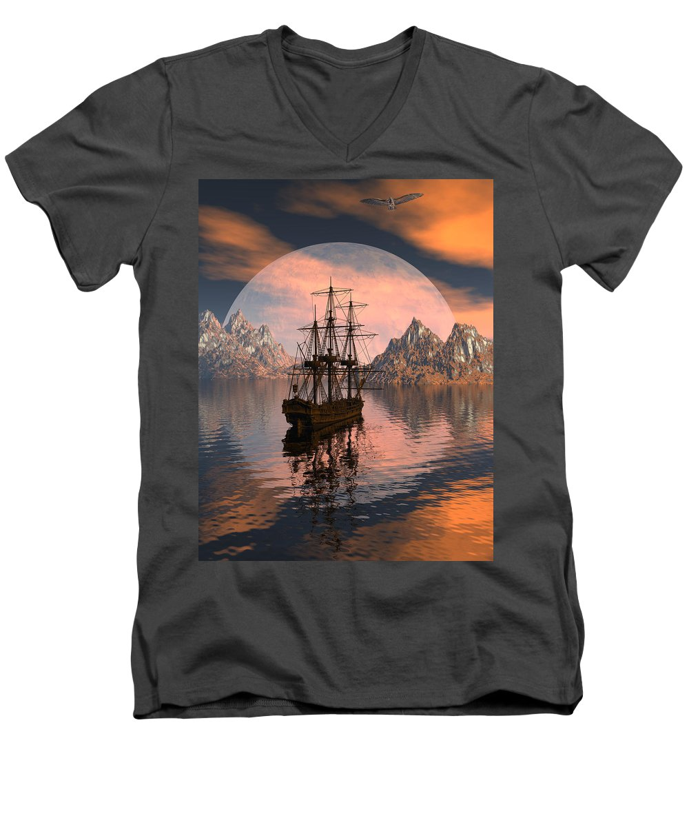 Bryce 3d Digital Fantasy Scifi Windjammer Sailing Men's V-Neck T-Shirt featuring the digital art At Anchor by Claude McCoy