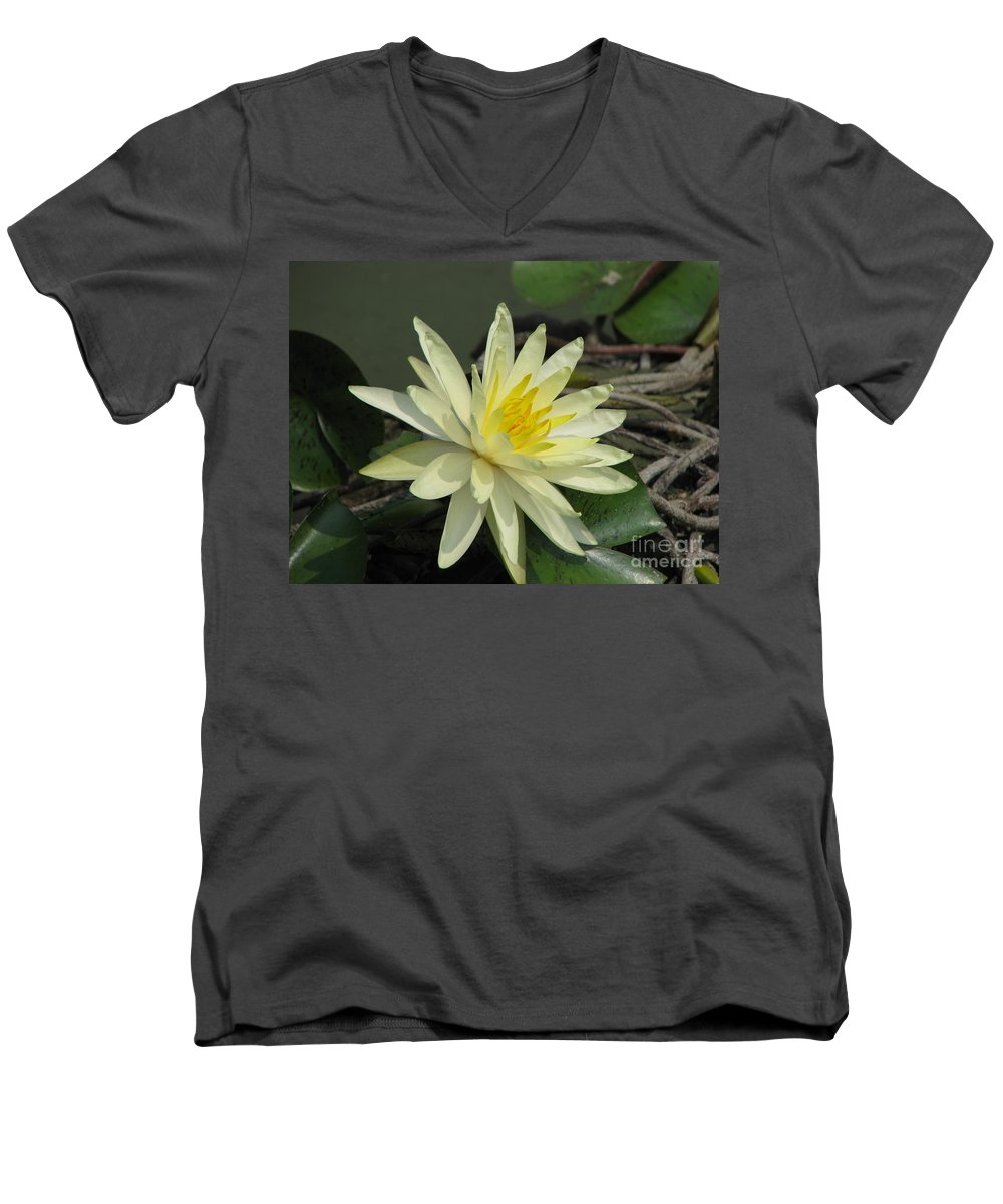 Lilly Men's V-Neck T-Shirt featuring the photograph At The Pond by Amanda Barcon