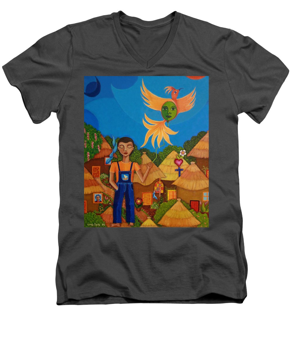 Autism Men's V-Neck T-Shirt featuring the painting Autism - A Flight To... by Madalena Lobao-Tello