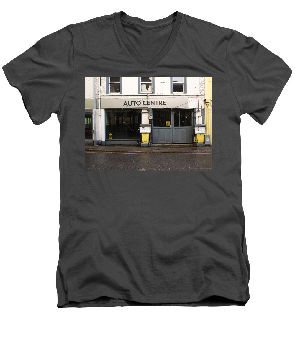 Auto Men's V-Neck T-Shirt featuring the photograph Auto Centre by Tim Nyberg