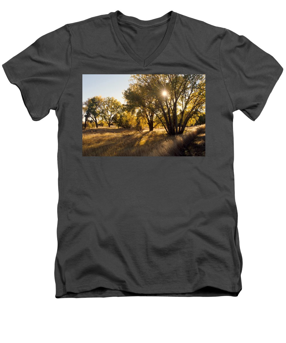 Fall Men's V-Neck T-Shirt featuring the photograph Autum Sunburst by Jerry McElroy