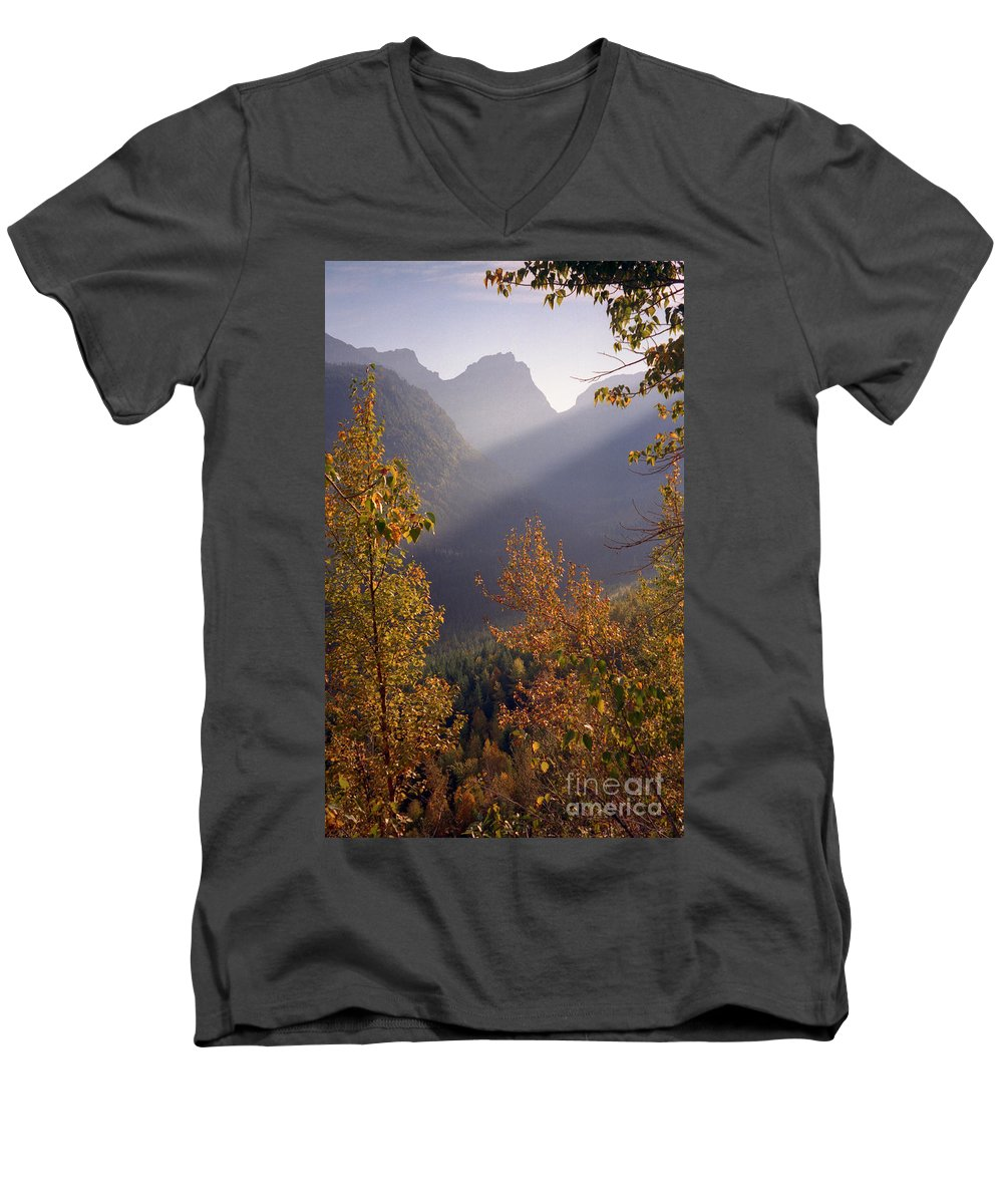 Mountains Men's V-Neck T-Shirt featuring the photograph Autumn At Logan Pass by Richard Rizzo
