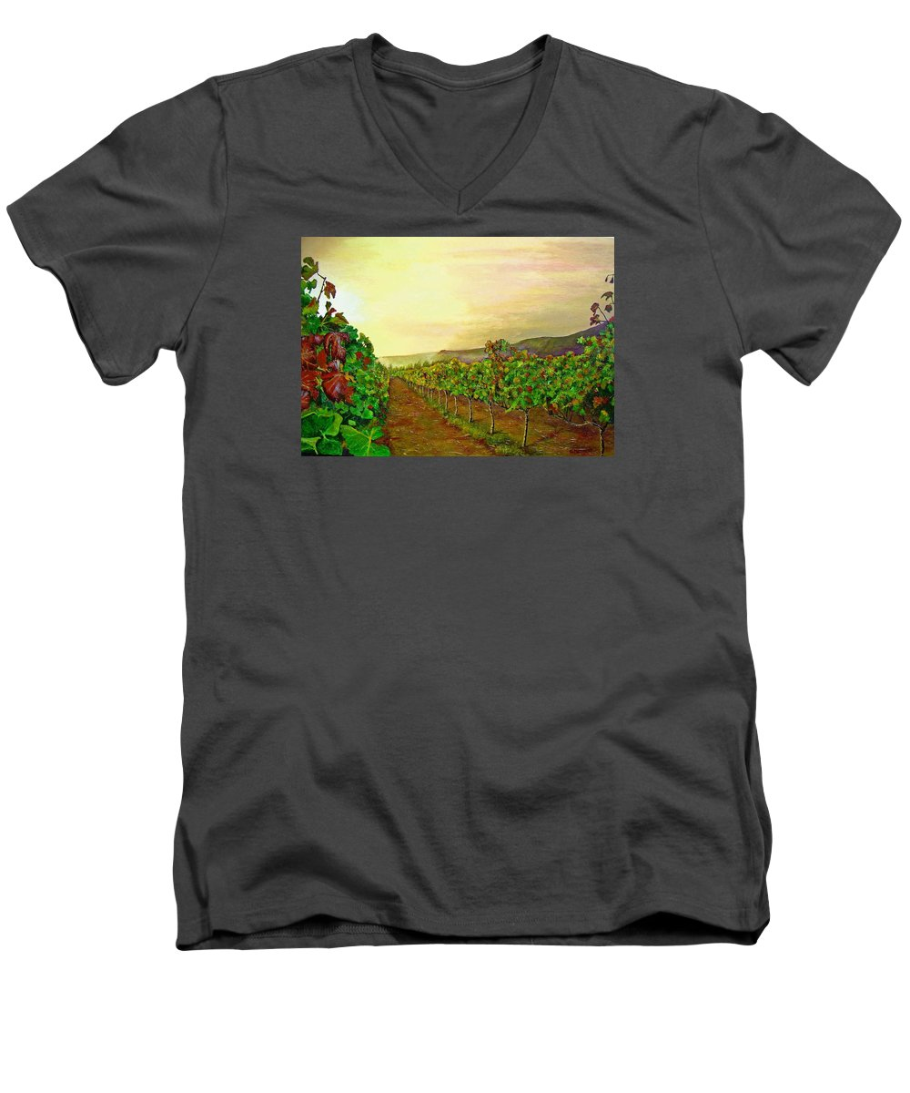 Vineyard Men's V-Neck T-Shirt featuring the painting Autumn At Steenberg by Michael Durst