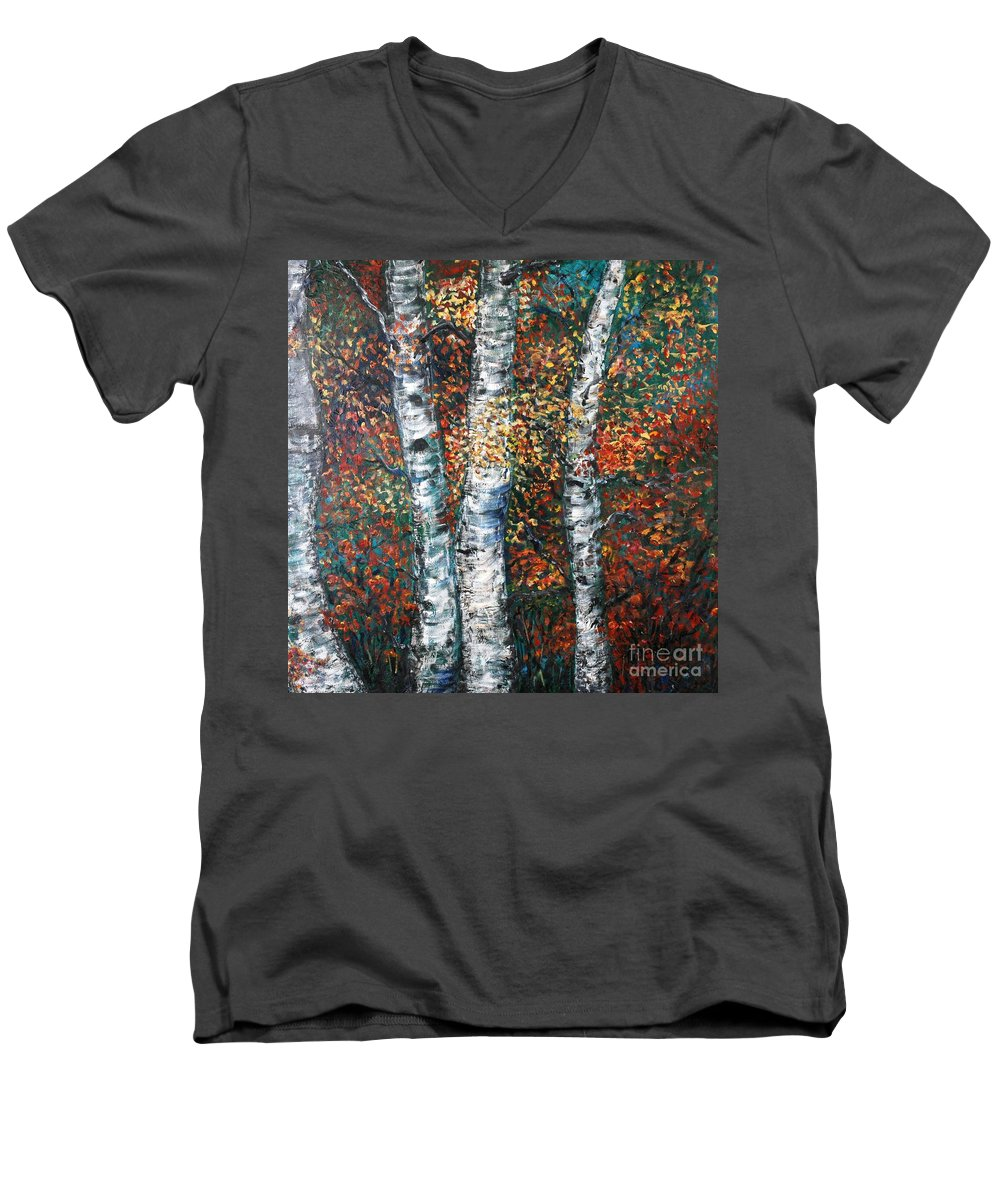 Birch Men's V-Neck T-Shirt featuring the painting Autumn Birch by Nadine Rippelmeyer