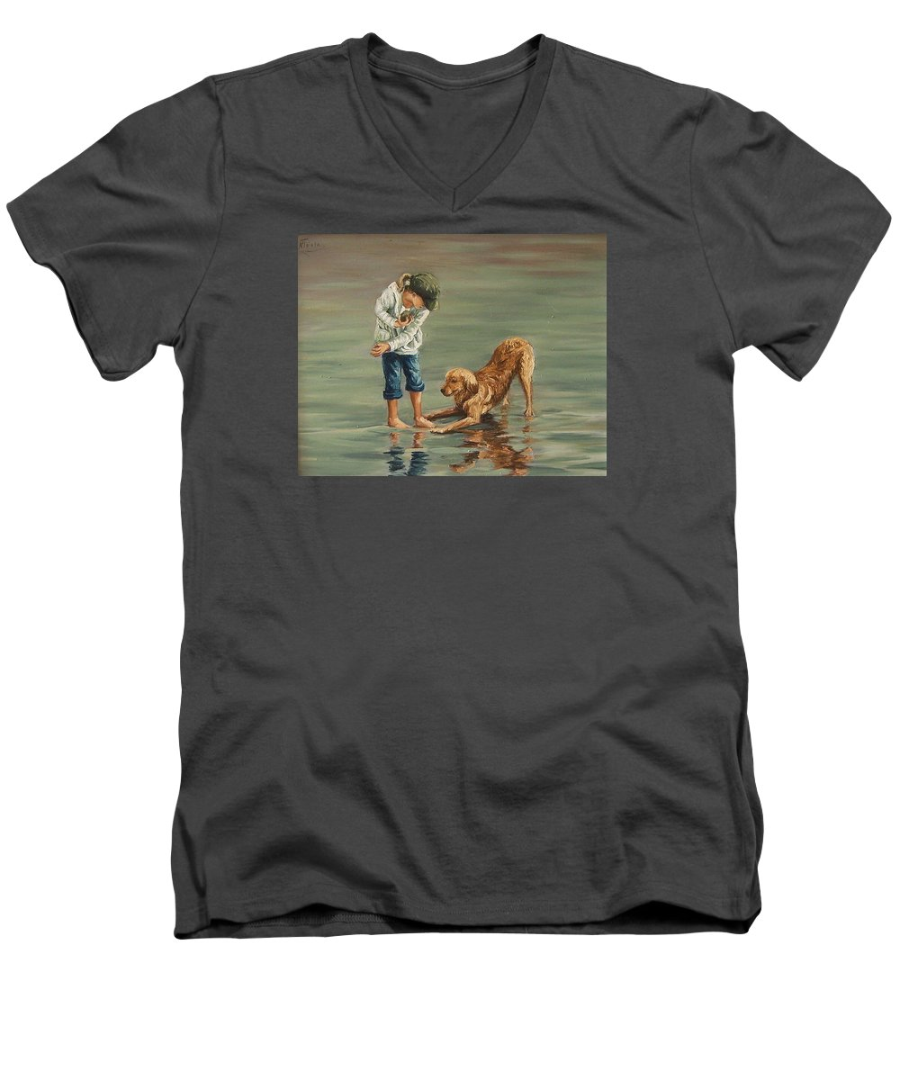 Girl Kid Child Figurative Dog Sea Reflection Playing Water Beach Men's V-Neck T-Shirt featuring the painting Autumn Eve by Natalia Tejera