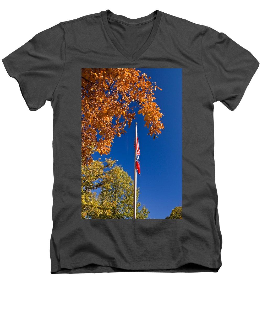 Flag Men's V-Neck T-Shirt featuring the photograph Autumn Flag by Douglas Barnett
