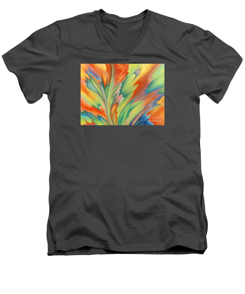 Abstract Men's V-Neck T-Shirt featuring the painting Autumn Flame by Lucy Arnold