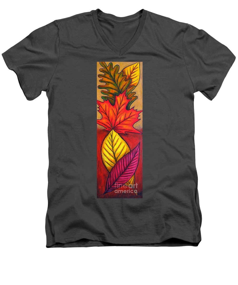 Autumn Men's V-Neck T-Shirt featuring the painting Autumn Glow by Lisa Lorenz