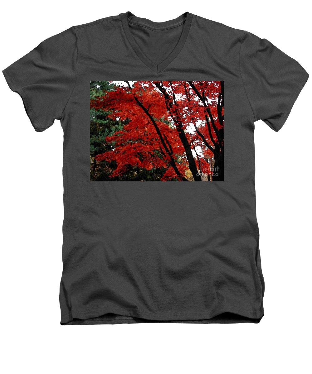 Autumn Men's V-Neck T-Shirt featuring the photograph Autumn In New England by Melissa A Benson