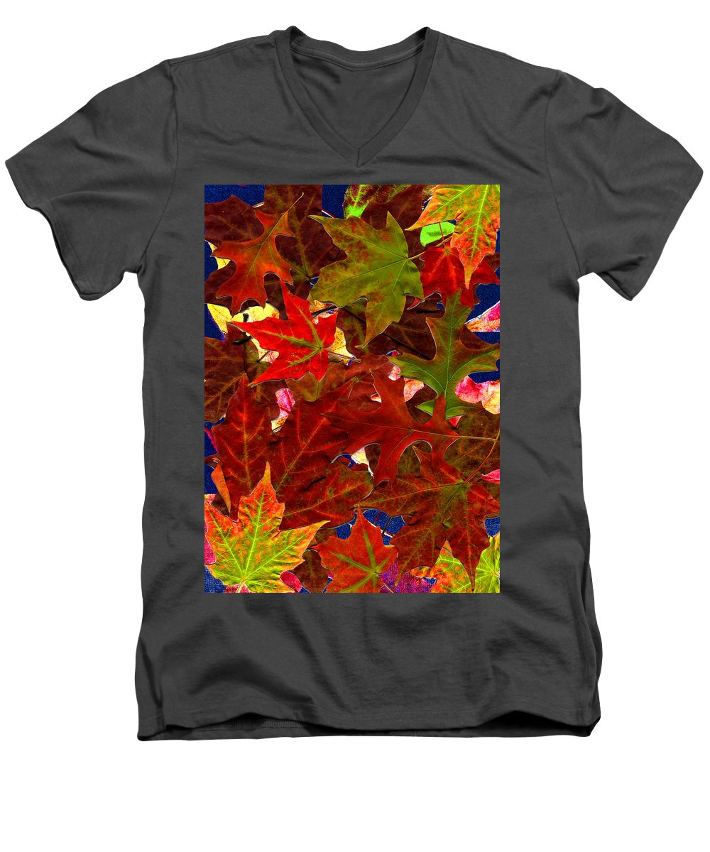 Collage Men's V-Neck T-Shirt featuring the photograph Autumn Leaves by Nancy Mueller