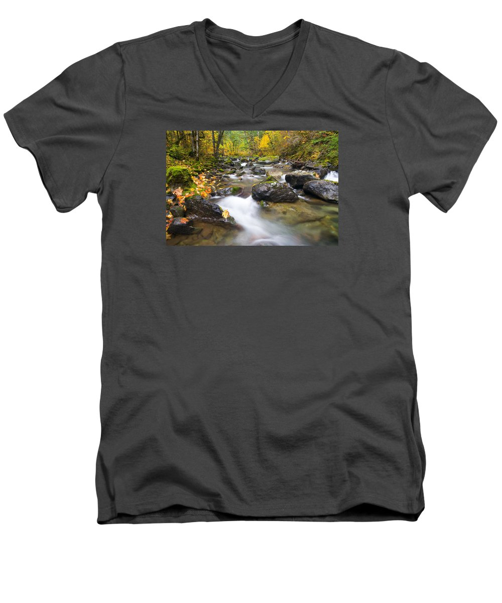 Fall Men's V-Neck T-Shirt featuring the photograph Autumn Passing by Mike Dawson