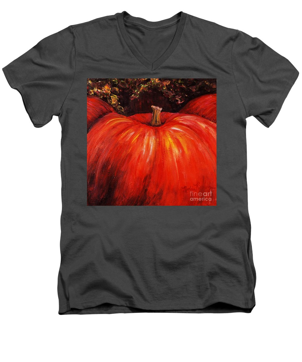 Orange Men's V-Neck T-Shirt featuring the painting Autumn Pumpkins by Nadine Rippelmeyer