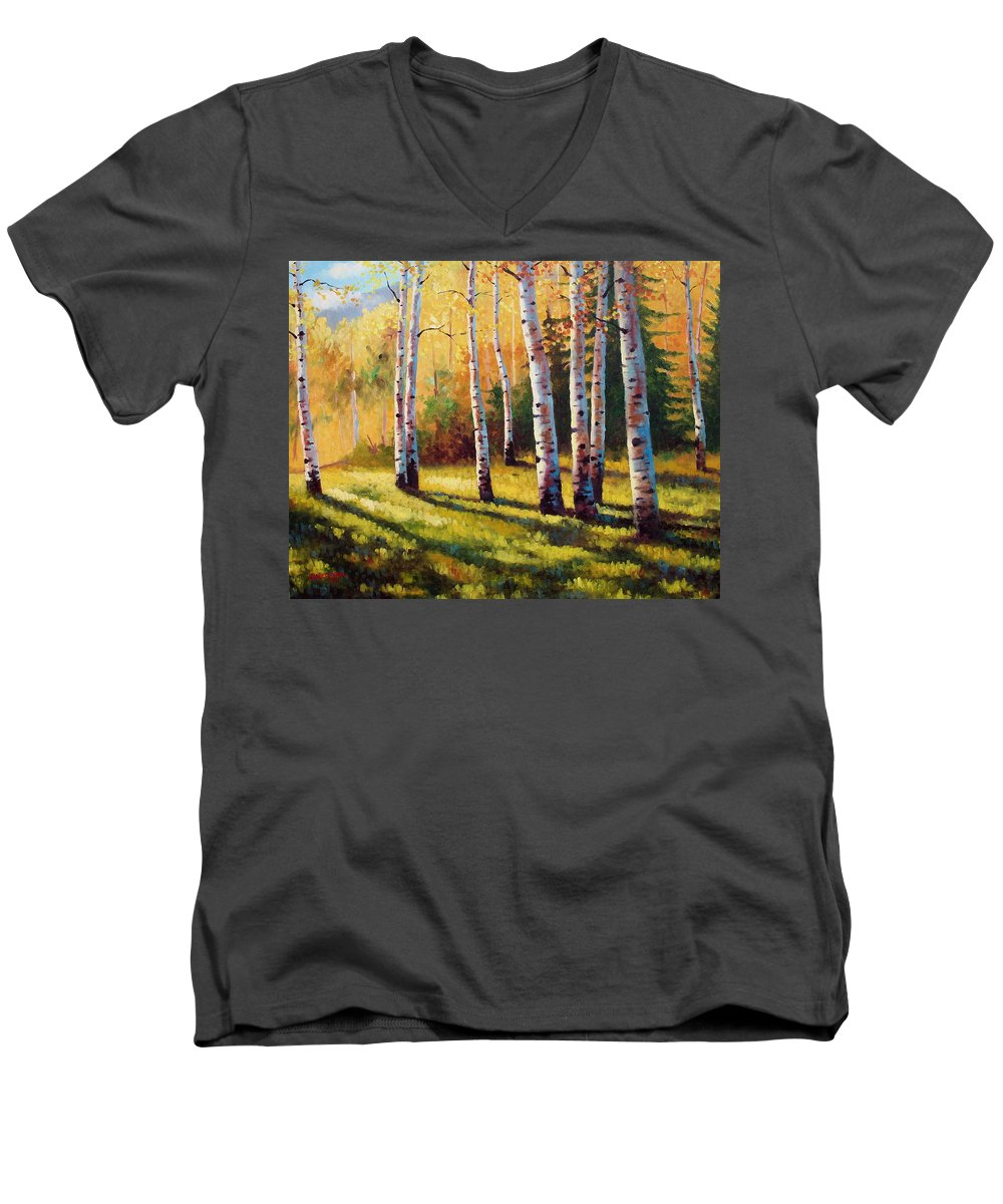 Landscape Men's V-Neck T-Shirt featuring the painting Autumn Shade by David G Paul