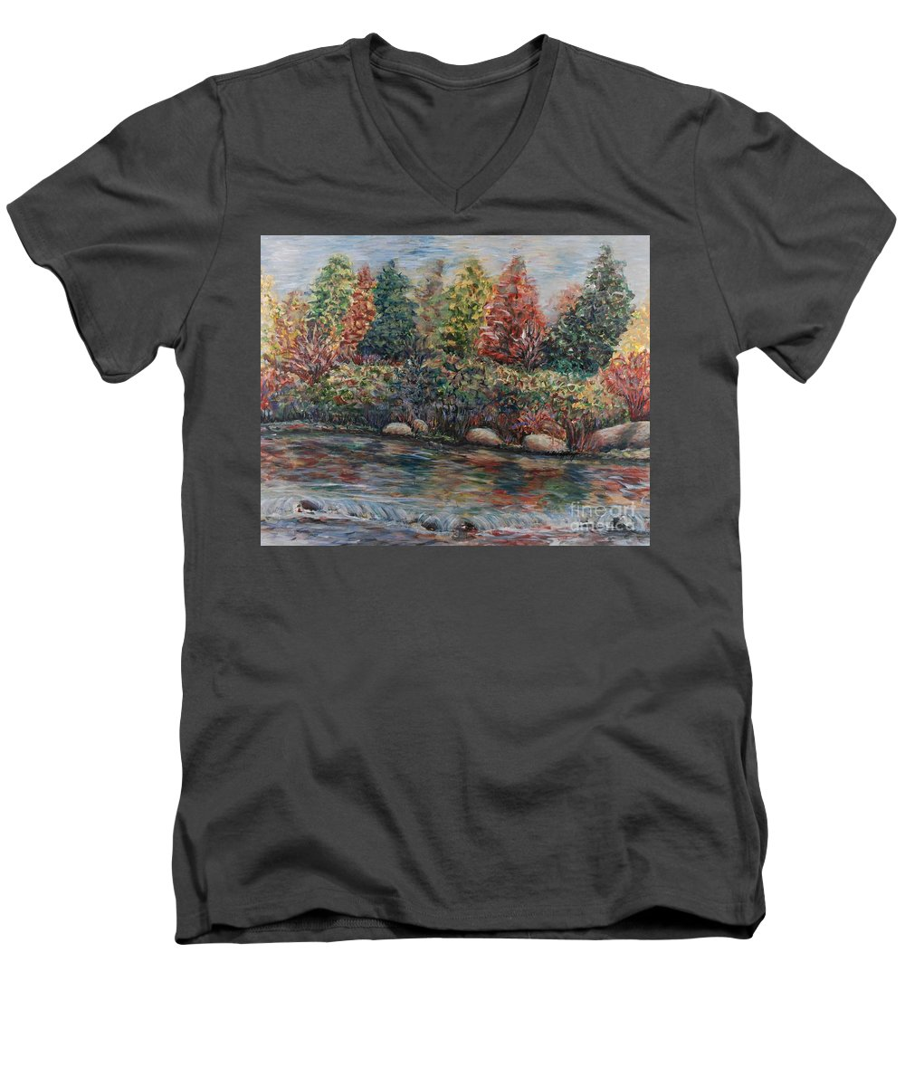 Autumn Men's V-Neck T-Shirt featuring the painting Autumn Stream by Nadine Rippelmeyer