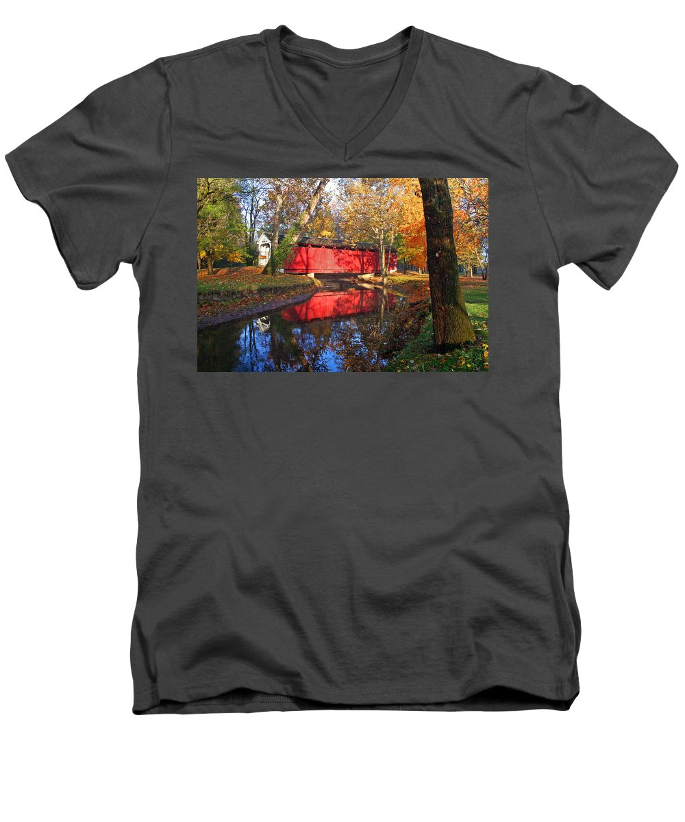 Covered Bridge Men's V-Neck T-Shirt featuring the photograph Autumn Sunrise Bridge II by Margie Wildblood