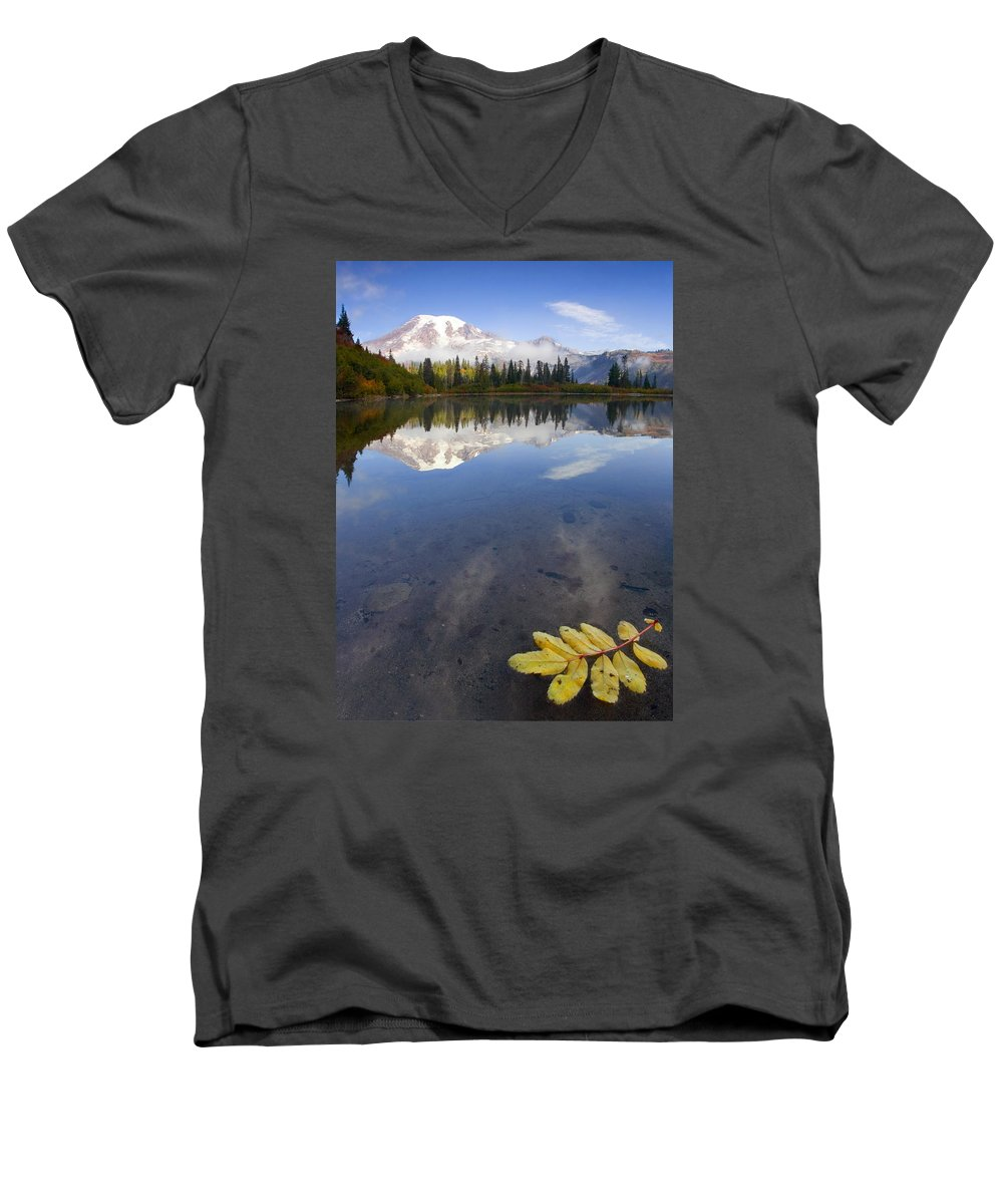 Rainier Men's V-Neck T-Shirt featuring the photograph Autumn Suspended by Mike Dawson