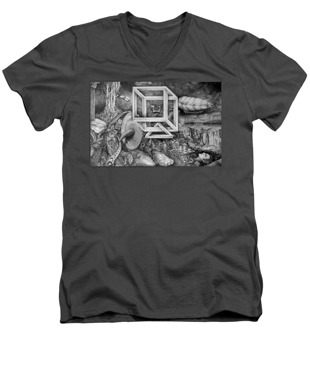 Drawing Men's V-Neck T-Shirt featuring the drawing Axis Mundi by Otto Rapp