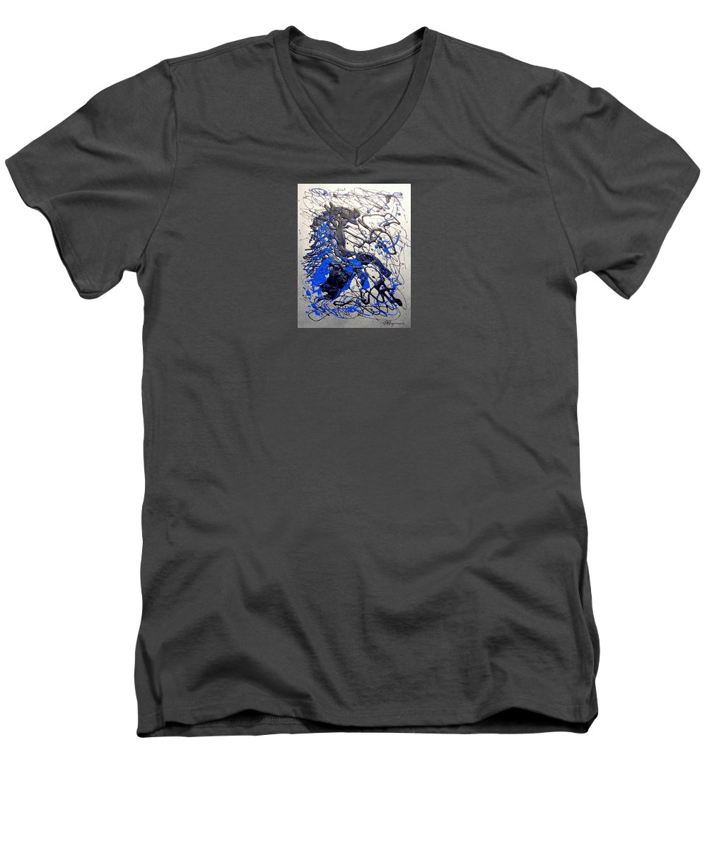 Abstract/impressionist Art Men's V-Neck T-Shirt featuring the painting Azul Diablo by J R Seymour