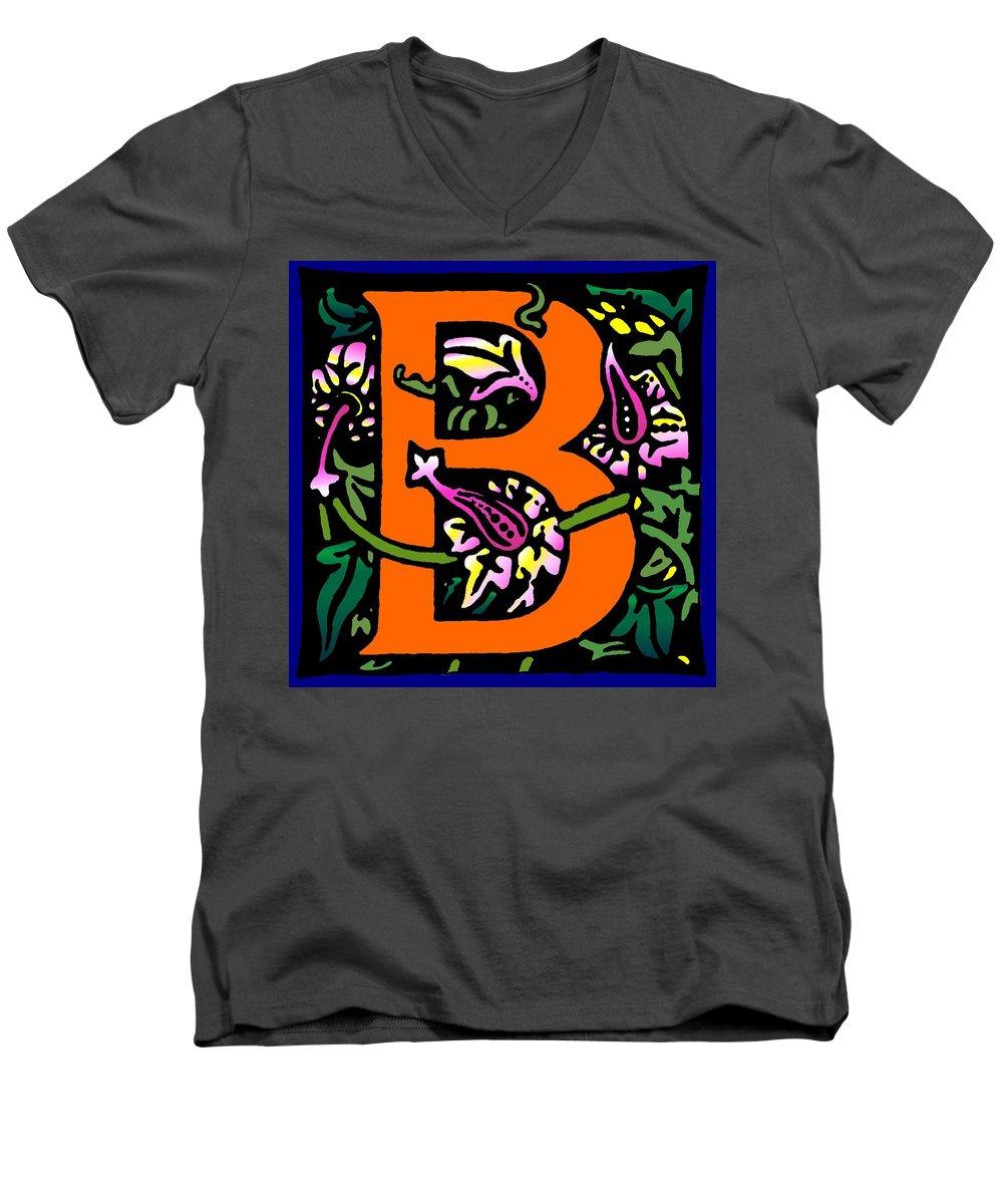 Alphabet Men's V-Neck T-Shirt featuring the digital art B In Orange by Kathleen Sepulveda