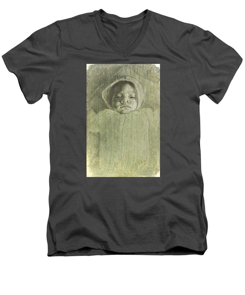Men's V-Neck T-Shirt featuring the painting Baby Self Portrait by Joe Velez