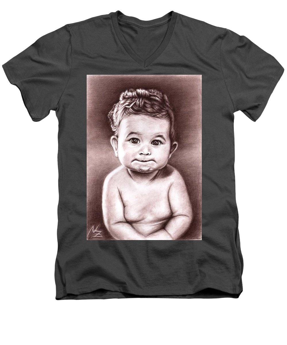 Baby Child Kind Enfant Face Sepia Charcoal Portrait Realism Men's V-Neck T-Shirt featuring the drawing Babyface by Nicole Zeug
