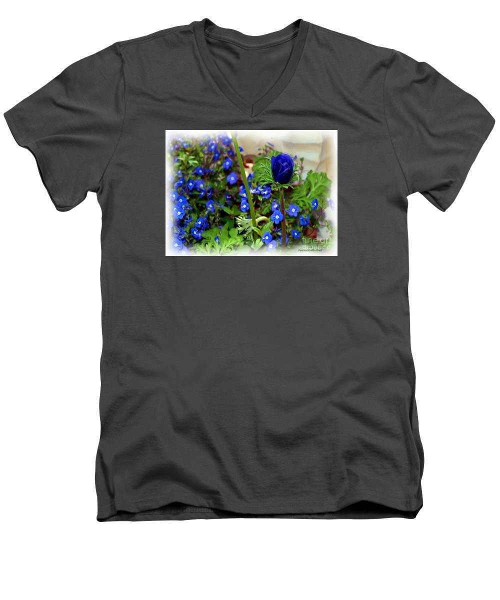 Fine Art Men's V-Neck T-Shirt featuring the painting Babys Got The Blues by Patricia Griffin Brett