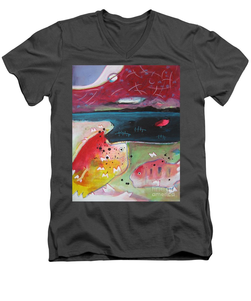 Acrylic Paintings Men's V-Neck T-Shirt featuring the painting Baieverte by Seon-Jeong Kim