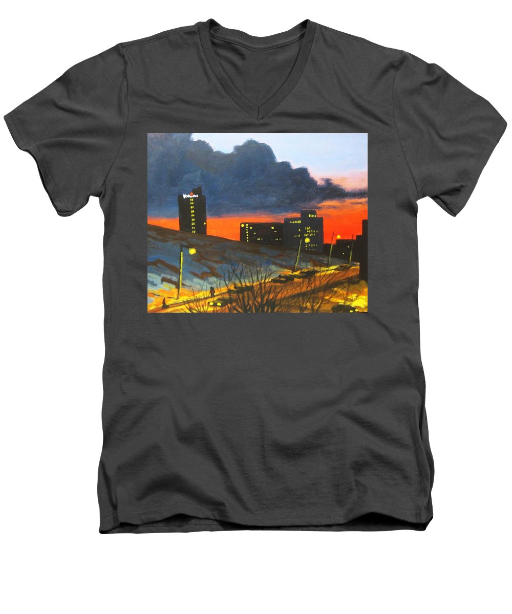 Sunset Men's V-Neck T-Shirt featuring the painting Balcony View 2 by John Malone