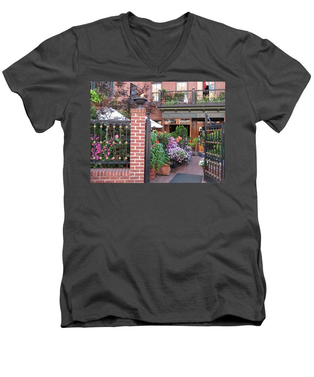 Courtyard Men's V-Neck T-Shirt featuring the photograph Baltimore Cafe     By Jean Carton by Jerrold Carton