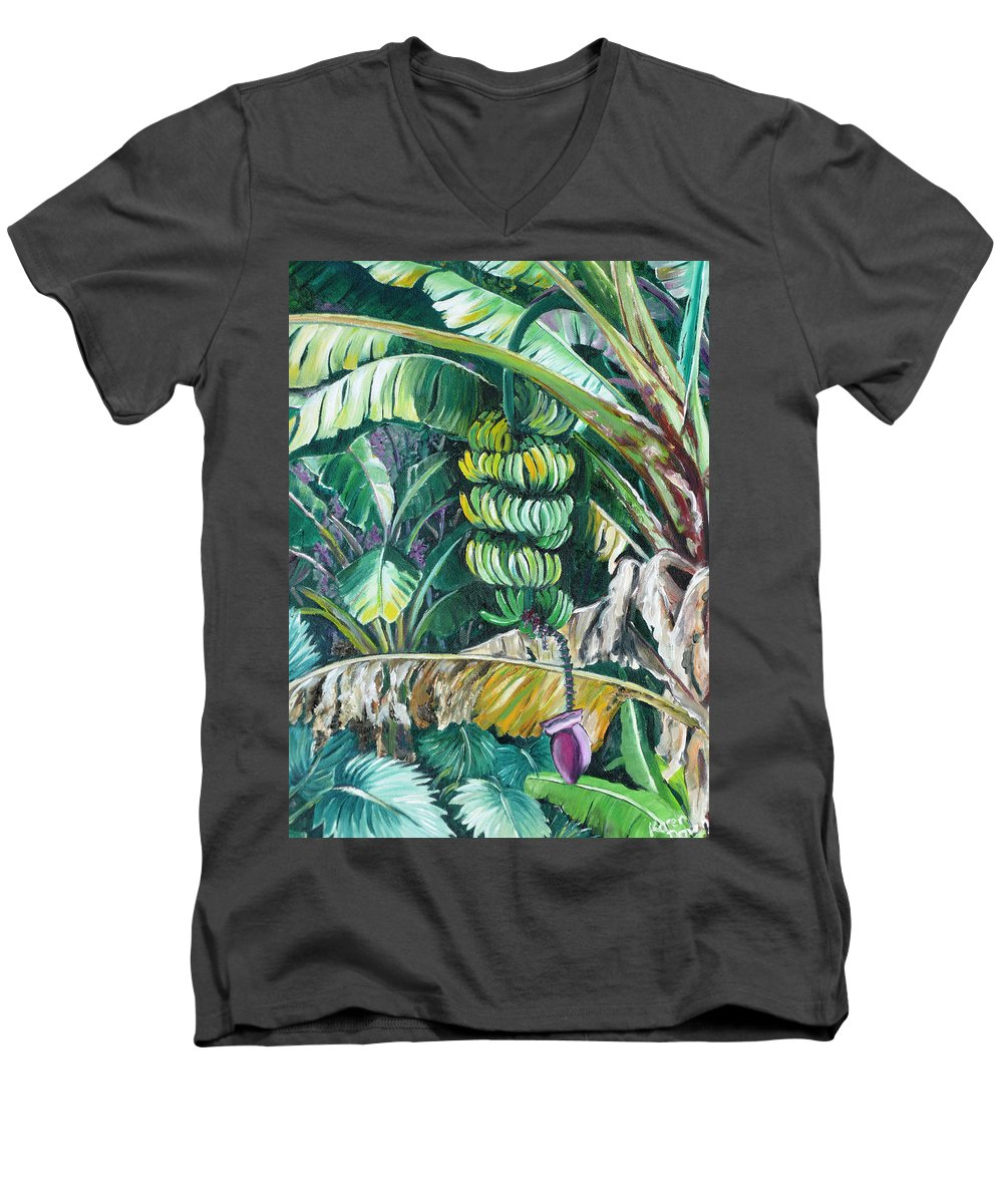 Caribbean Painting Bananas Trees P Painting Fruit Painting Tropical Painting Men's V-Neck T-Shirt featuring the painting Bananas by Karin Dawn Kelshall- Best