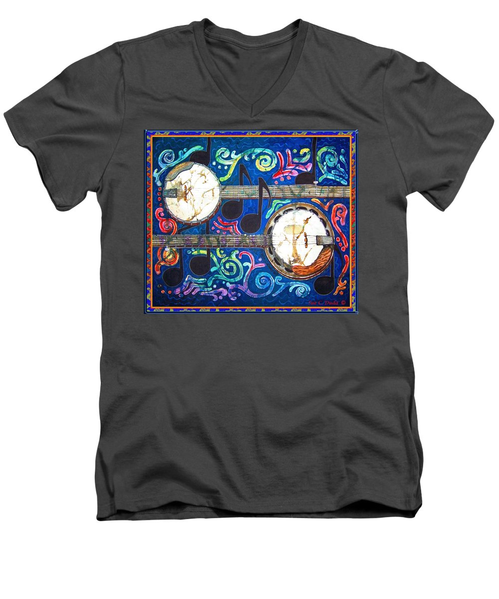 Banjo Men's V-Neck T-Shirt featuring the painting Banjos - Bordered by Sue Duda