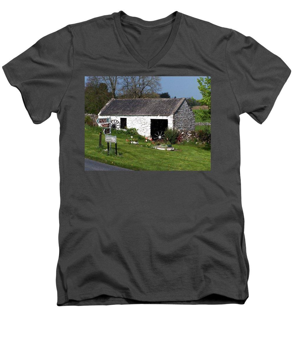 Ireland Men's V-Neck T-Shirt featuring the photograph Barn At Fuerty Church Roscommon Ireland by Teresa Mucha