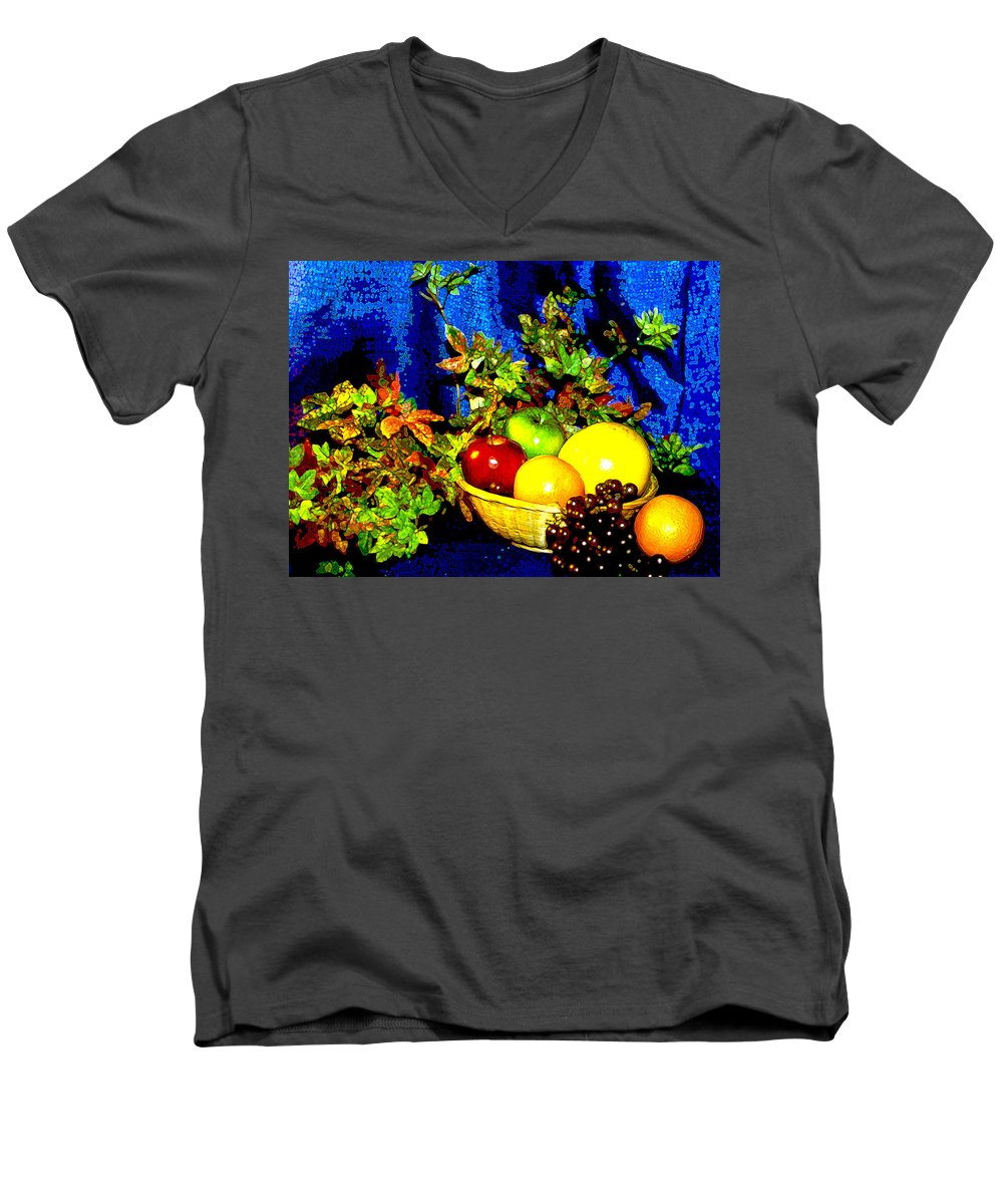 Fruit Men's V-Neck T-Shirt featuring the photograph Basket With Fruit by Nancy Mueller