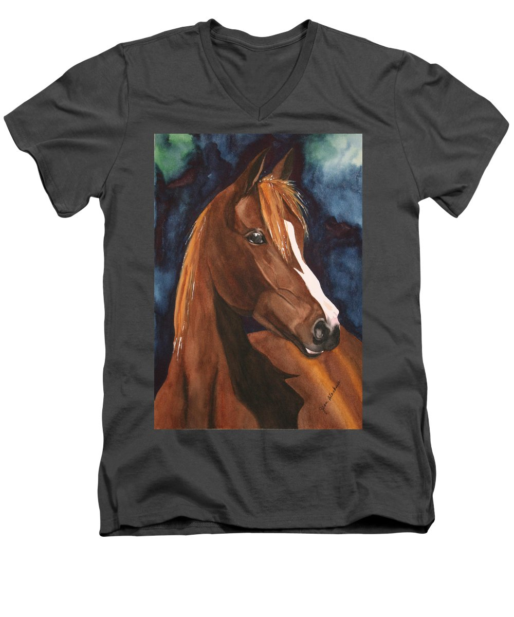 Horse Men's V-Neck T-Shirt featuring the painting Bay On Blue 2 by Jean Blackmer